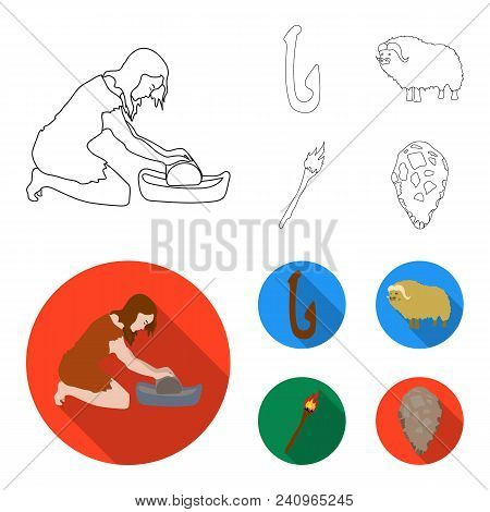 Cattle, Catch, Hook, Fishing .stone Age Set Collection Icons In Outline, Flat Style Vector Symbol St