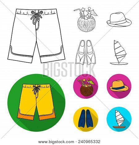 Swimming Trunks, Cocktail With Coconut, Panama And Flippers. Surfing Set Collection Icons In Outline