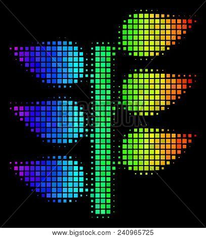 Pixel Colorful Halftone Flora Plant Icon In Spectrum Color Hues With Horizontal Gradient On A Black