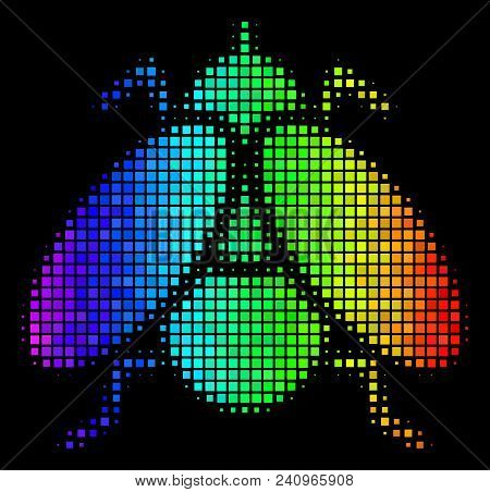 Dot Impressive Halftone Fly Insect Icon Drawn With Spectrum Color Tints With Horizontal Gradient On