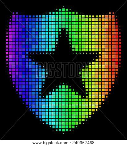 Pixelated Colorful Halftone Guard Icon Drawn With Rainbow Color Tints With Horizontal Gradient On A
