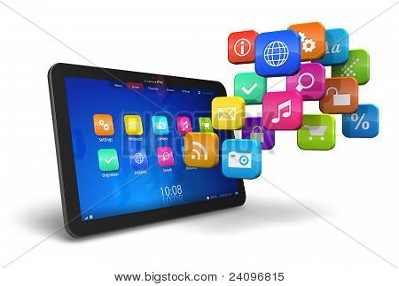 Tablet PC with cloud of colorful application icons isolated on white background poster