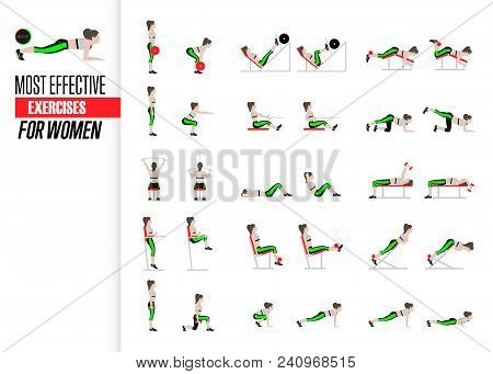 Set Of Sport Exercises. Exercises With Free Weight. Exercises In A Gym. Illustration Of An Active Li