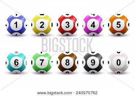 Set Of Colored Numbered Lottery Balls For Bingo Game. Lotto Keno Concept. Bingo Balls With Numbers.