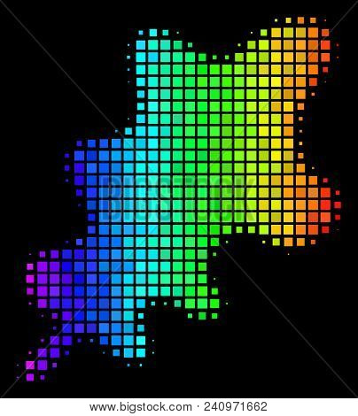Pixelated Bright Halftone Oak Leaf Icon Drawn With Rainbow Color Tones With Horizontal Gradient On A