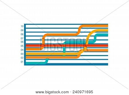 Infographic With Numbers And Wide, Horizontal Lines Of Different Colors Crossing Together, Vector Il