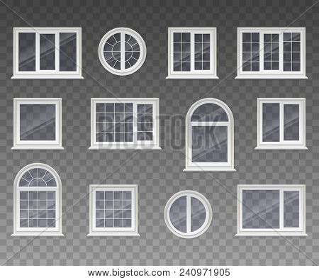 Set Of Closed Square, Rectangular, Round And Arched Windows With Transparent Glass In A White Frame.