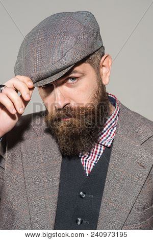 Vintage Male Fashion - Elegant Fashionable Man With Beard And Mustache In Stylish Retro Clothes. Bea