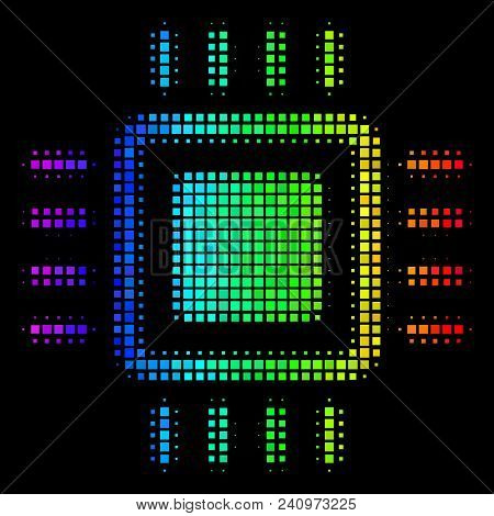 Dot Colorful Halftone Processor Icon Using Spectrum Color Tinges With Horizontal Gradient On A Black