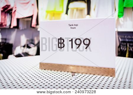 Low Price Tag Of 199 Thai Bahts For Clothing In A Store