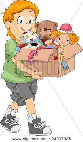 Illustration of a Kid Carrying a Box Full of Toys for Donation or Organizing