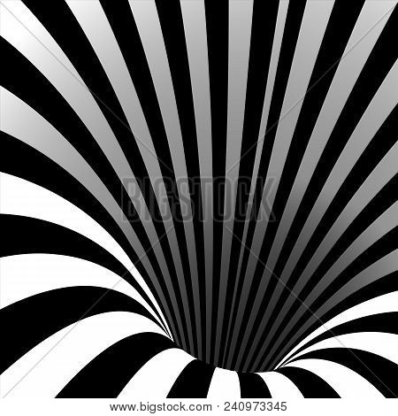 Spiral Vortex Vector. Illusion. Spiral Twisted Vortex Tunnel Shape. Motion Dynamic Effect. Swirl Hyp