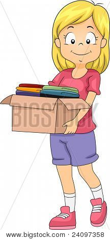 Illustration of a Girl Carrying a Donation Box Full of Clothes