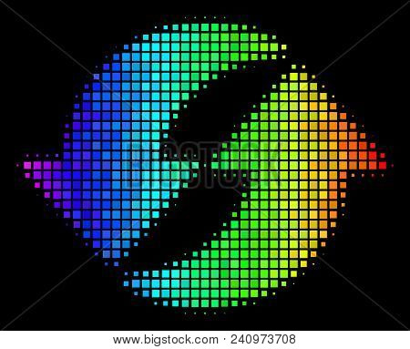 Dotted Bright Halftone Refresh Icon Using Spectral Color Shades With Horizontal Gradient On A Black