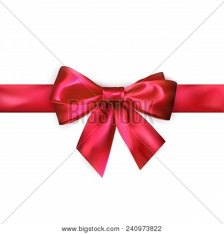 Red Bow With Red Ribbon Isolated On White Background. Realistic Silk Bow. Decoration For Gifts And P