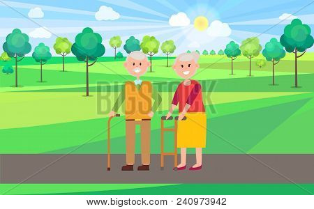 Granny And Granddad Poster, Elderly People Walking And Enjoying Landscapes And Nature, Trees And Sun