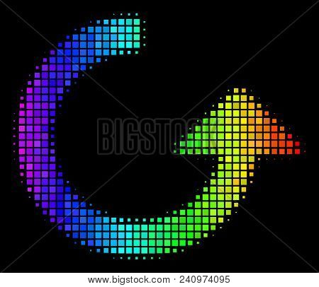 Dotted Colorful Halftone Rotate Icon In Spectral Color Tones With Horizontal Gradient On A Black Bac
