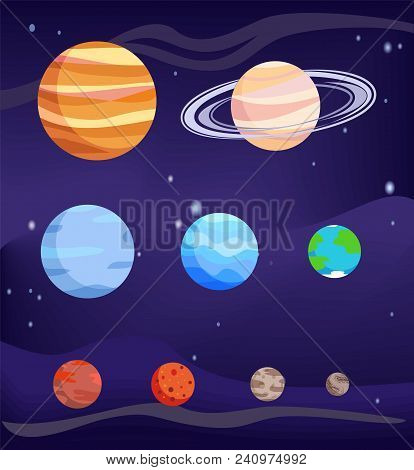 Planet set of celestial bodies, poster with Jupiter and Earth, Venus and Mercury, Pluto and Mars, vector illustration with stars isolated on blue poster
