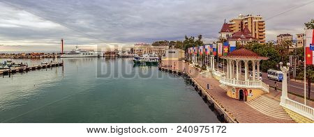 Sochi, Russia - June 4, 2015: Panorama Of Shallow Wharf.
