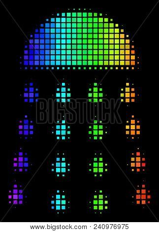 Pixelated Colorful Halftone Spray Stream Icon Drawn With Rainbow Color Tones With Horizontal Gradien