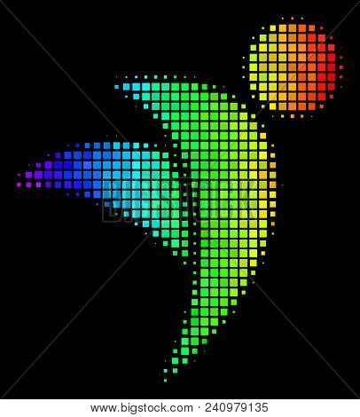 Dot Colorful Halftone Winged Man Icon In Spectral Color Variations With Horizontal Gradient On A Bla