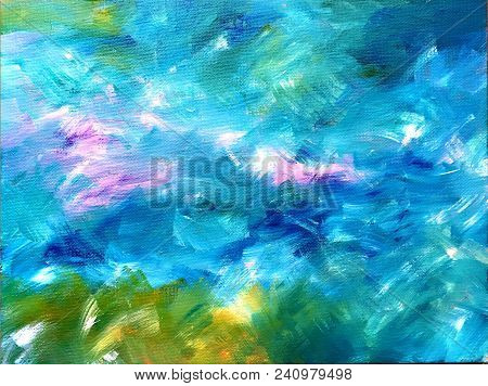 Acrylic Painting On Canvas Of Background In Blue Green Magenta Purple