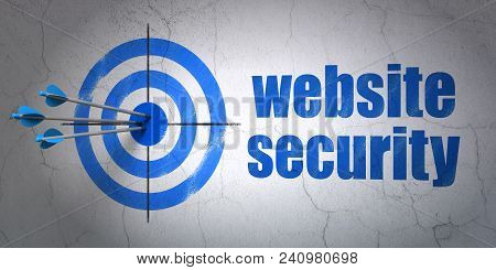 Success Safety Concept: Arrows Hitting The Center Of Target, Blue Website Security On Wall Backgroun