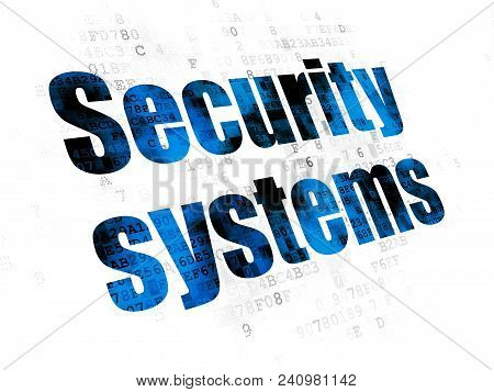 Protection Concept: Pixelated Blue Text Security Systems On Digital Background