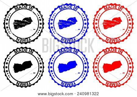 Made In Yemen - Rubber Stamp - Vector, Republic Of Yemen Map Pattern - Black, Blue And Red
