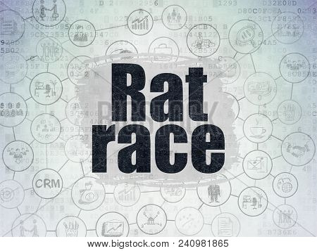 Business Concept: Painted Black Text Rat Race On Digital Data Paper Background With  Scheme Of Hand
