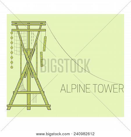 Alpine Tower. Climbing Tower. Adventure Park Icon.  Vector Illustration