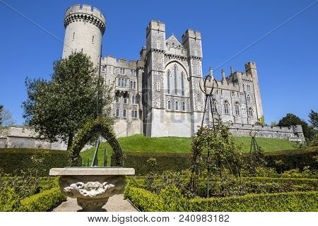 Arundel, Uk - May 5th 2018: The Magnificent Arundel Castle, Viewed From The Beautiful Gardens Within