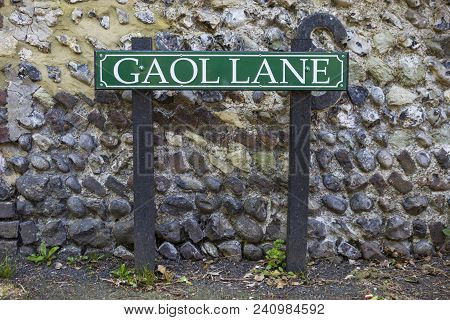 Sussex, Uk - May 6th 2018: A Street Sign For Gaol Lane In The Village Of Pevensey In East Sussex, On