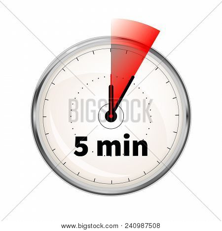 Realistic Clock Face With Five Minutes Timer Isolated On White