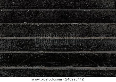 Death. Conceptual High-contrast Image Of Charred Black Concrete Steps. Abstract High Contrast Graphi