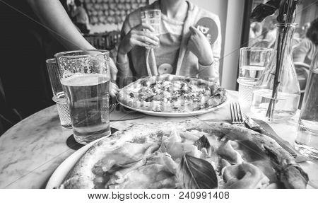 Waiter Bring Pizza To Wpman Delicious Pizza Salsiccia E Carciofi Made From Artichoke Heart, Campania