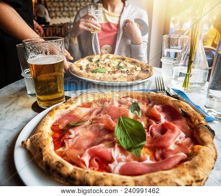 Waiter Bring Pizza To Woman Delicious Pizza Salsiccia E Carciofi Made From Artichoke Heart, Campania
