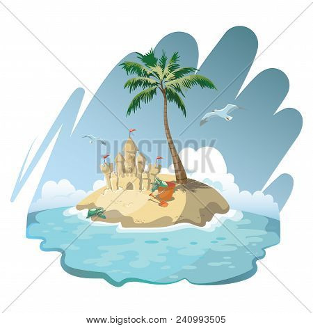 Cartoon Island With A Sandy House. Illustration For A Travel Company. Summer Vacation At The Sea. Il