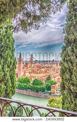 Panoramic Aerial View Over Central Verona And The Adige River, Italy
