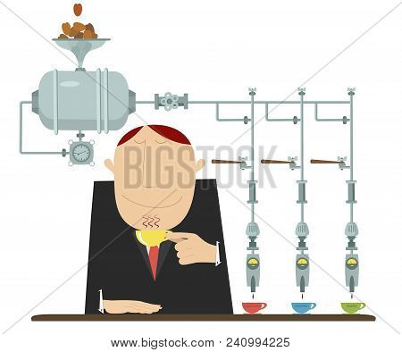 Man With A Cup Of Coffee And Coffee Machine Illustration Isolated. Man Drinks Several Different Sort
