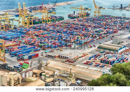 Barcelona - August 11: Aerial View Over The Commercial And Industrial Port Of Barcelona, As Seen Fro