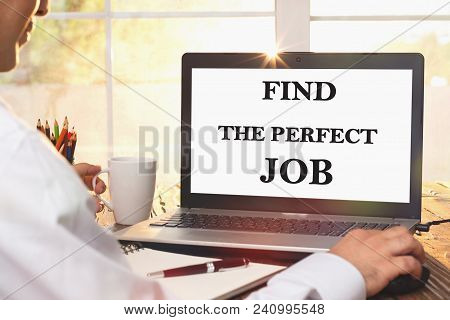 Find The Perfect Job Concept On Laptop Computer Screen