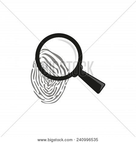 Black And White Outline Vector Magnifying Glass Over A Fingerprint Icon