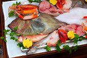 fancy seafood arrangement in an elegant restaurant poster