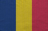 Chad flag printed on a polyester nylon sportswear mesh fabric with some folds poster