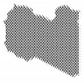 Demography Libya map people. Population vector cartography abstraction of Libya map constructed of men elements. Social representation of national group. Demographic abstract halftone map. poster