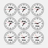 Vector illustration, increments from 46 to 54, one second interval, 3 rows and 3 columns on grey background, for business or education. Watches in flat design. Watches set 1. poster