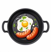Grilled egg and sausage at frying pan. Picnic grill. Cooking food. Roast barbecue. B-B-Q foodstuff. Fry product. Isolated on white background. Cooked meal. EPS10 vector illustration. poster