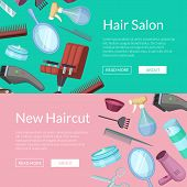 Vector horizontal web banners illustration with hairdresser or barber cartoon elements poster