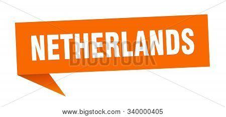 Netherlands Sticker. Orange Netherlands Signpost Pointer Sign